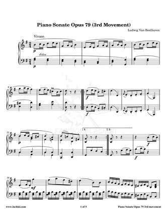 Piano Sonate Opus 79 - 3rd Movement نت آهنگ