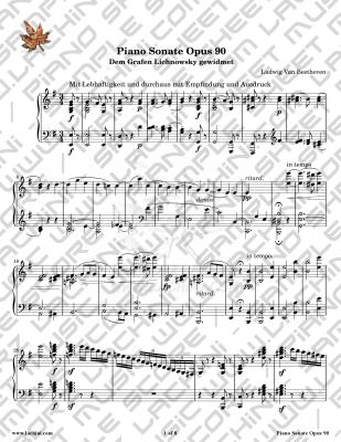 Piano Sonate Opus 90 - 1st Movement Partition
