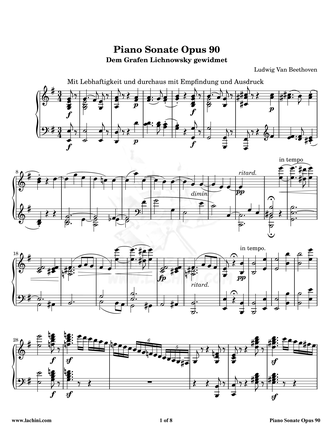 Piano Sonate Opus 90 - 1st Movement نت آهنگ