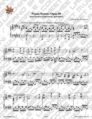 Piano Sonate Opus 90 - 2nd Movement Sheet Music
