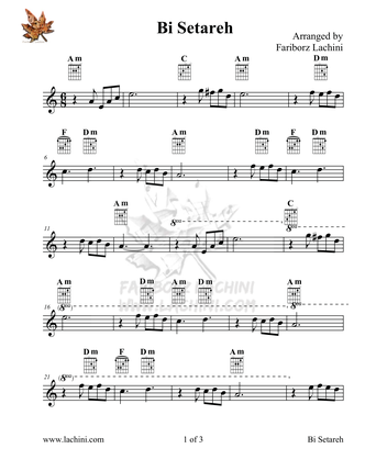 Bi Setareh Sheet Music