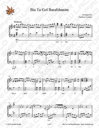 Bia Ta Gol Barafshanim Sheet Music
