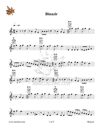 Binazir Sheet Music