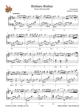 Bishtaro Bishtar Sheet Music