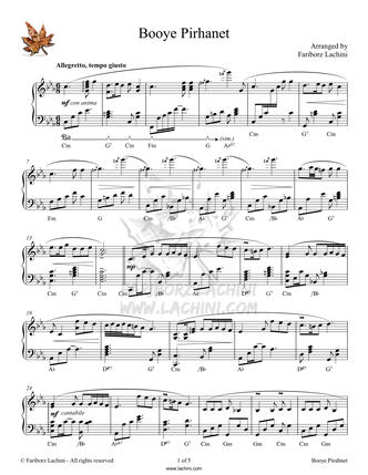 Booye Pirhanet Sheet Music