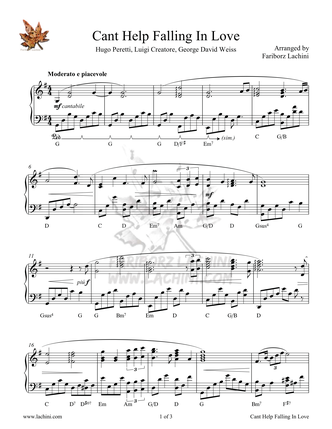 Cant Help Falling In Love Sheet Music