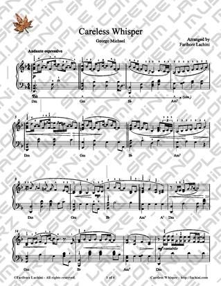 Careless Whisper Sheet Music
