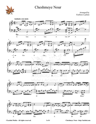 Cheshmeye Nour Sheet Music