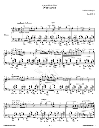 Nocturne Opus 9 N 2 Sheet Music