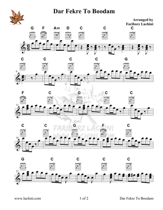 Dar Fekre To Boodam Sheet Music