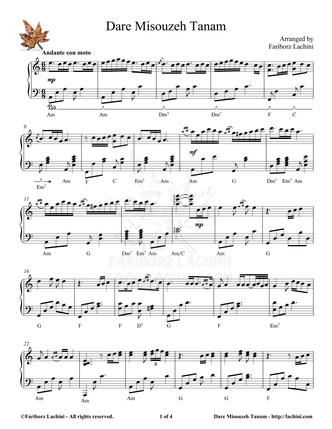 Dare Misouzeh Tanam Sheet Music
