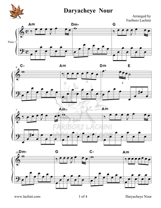 Daryacheye Nour Sheet Music
