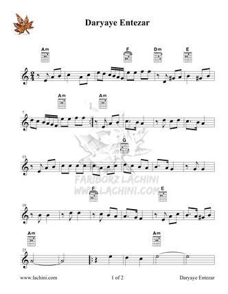 Daryaye Entezar Sheet Music