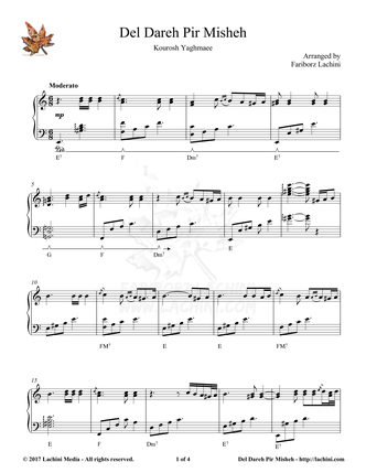 Del Dareh Pir Misheh Sheet Music