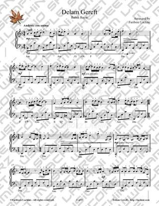 Delam Gereft 2 Sheet Music