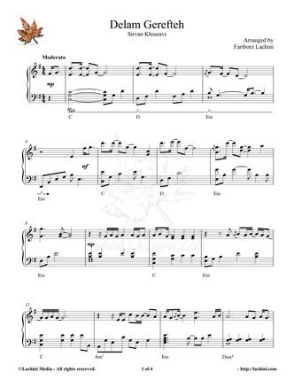 Delam Gerefteh Musiknoten