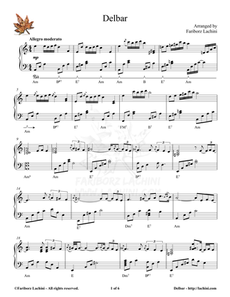 Delbar Sheet Music