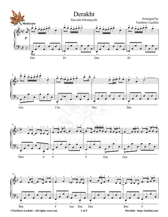 Derakht 2 Sheet Music