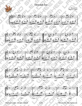 Dereneh Jan Sheet Music