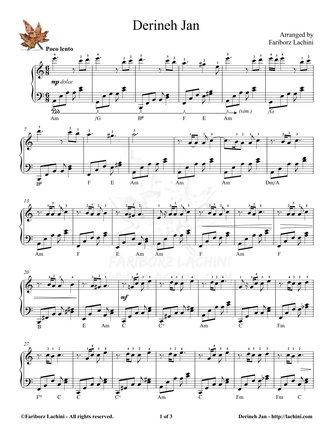 Derineh Jan 2 Sheet Music