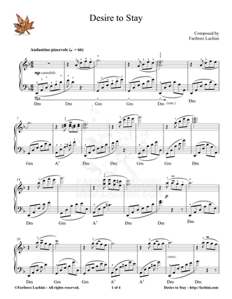 Desire to Stay Sheet Music