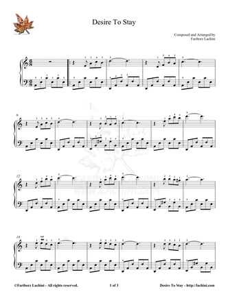 Desire to Stay - Easy Piano Sheet Music