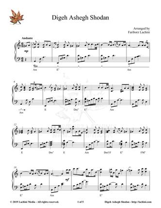 Digeh Ashegh Shodan Sheet Music