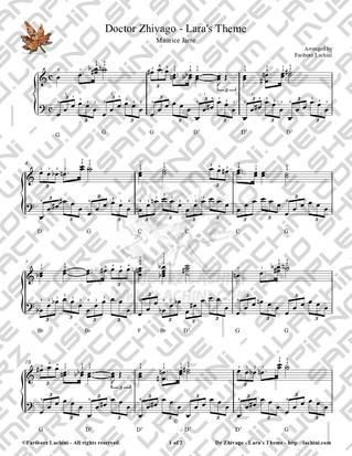 Dr. Zhivago - Laras Theme نت آهنگ