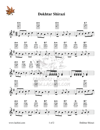 Dokhtar Shirazi Sheet Music