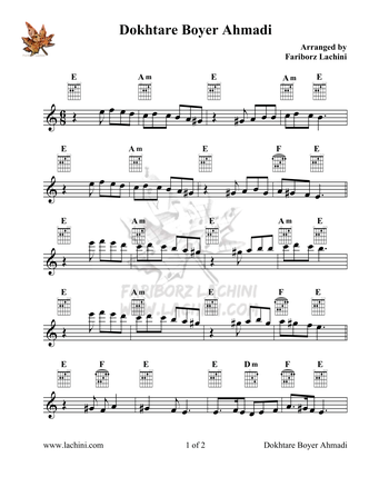 Dokhtare Boyer Ahmadi 2 Sheet Music