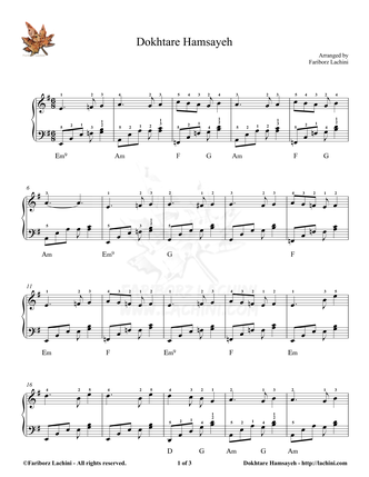 Dokhtare Hamsaye Sheet Music