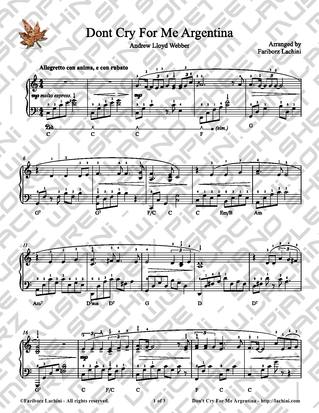 Dont Cry for Me Argentina Sheet Music