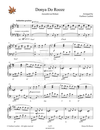Donya Do Rooze Sheet Music