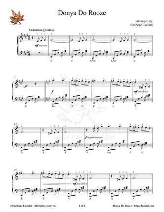 Donya Do Roozeh Sheet Music