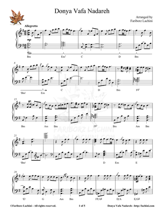 Donya Vafa Nadareh Sheet Music