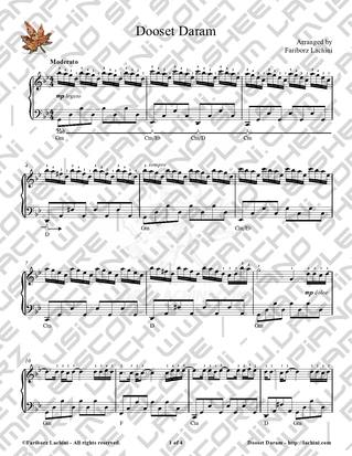 Dooset Daram 2 Sheet Music