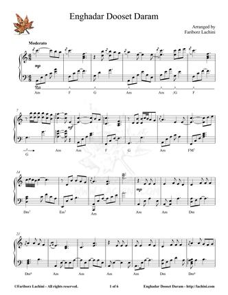 Enghadar Dooset Daram Sheet Music