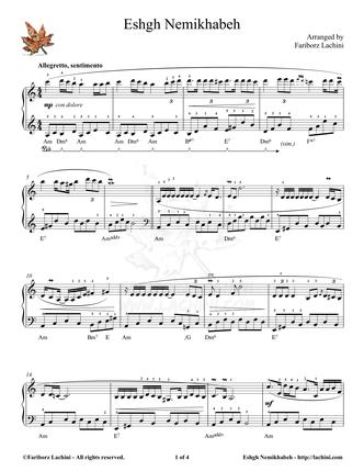Eshgh Nemikhabeh Sheet Music