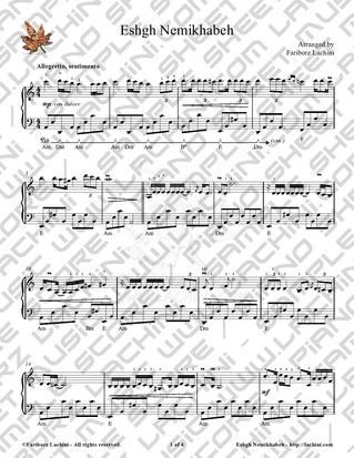 Eshgh Nemikhabeh 2 Sheet Music