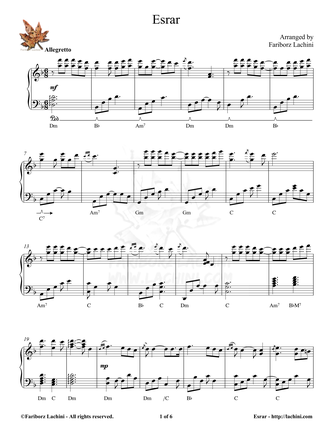 Esrar Sheet Music