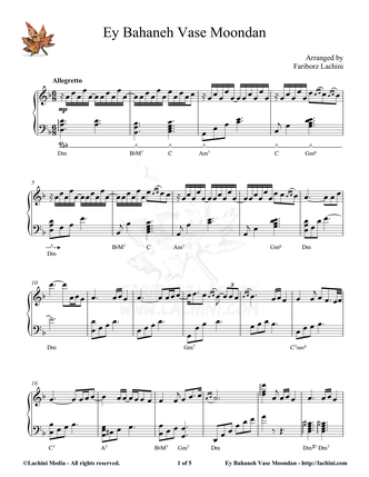 Ey Bahaneh Vase Moondan Sheet Music