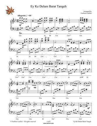 Ey Ke Delam Barat Tangeh Sheet Music