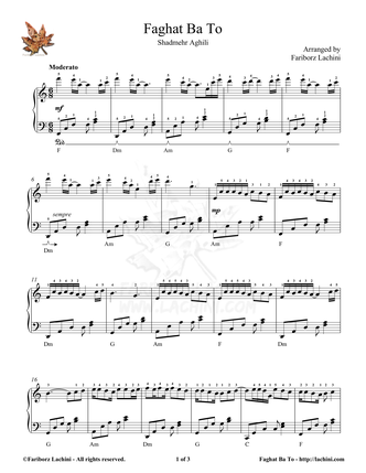 Faghat Ba To Sheet Music