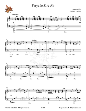 Faryade Zire Ab Sheet Music
