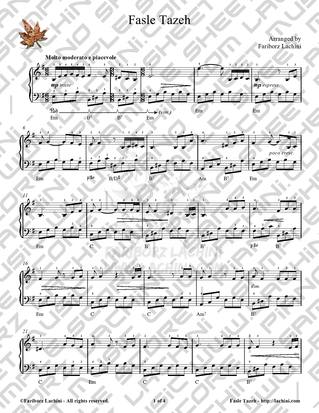 Fasle Tazeh Sheet Music