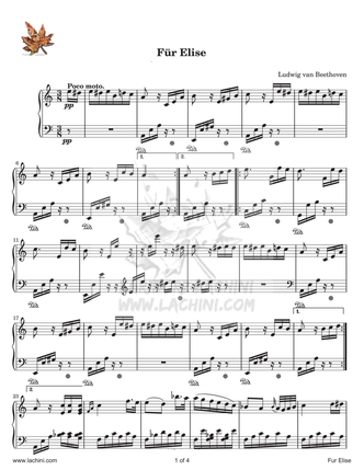 Fur Elise Sheet Music
