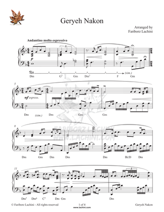 Geryeh Nakon Sheet Music