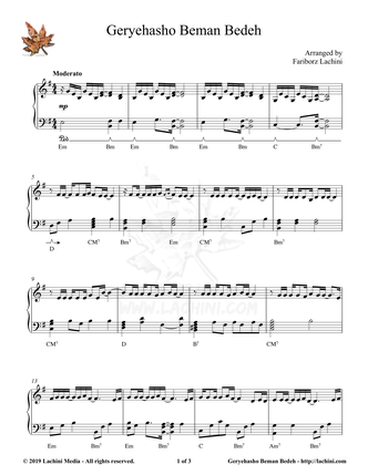 Geryehasho Beman Bedeh Sheet Music