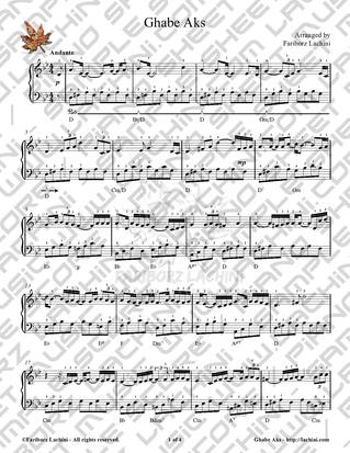 Ghabe Aks Sheet Music