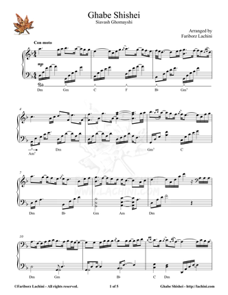 Ghabe Shishei Musiknoten